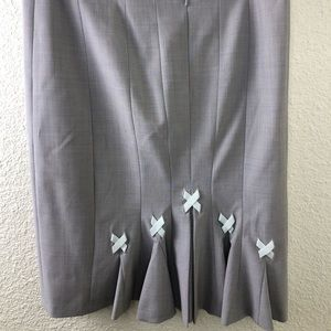 Rebecca Taylor Gray Tweed Bows A Line Skirt